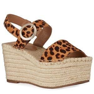 {Marc Fisher} Rexly Leopard-Fur Wedge Espadrilles